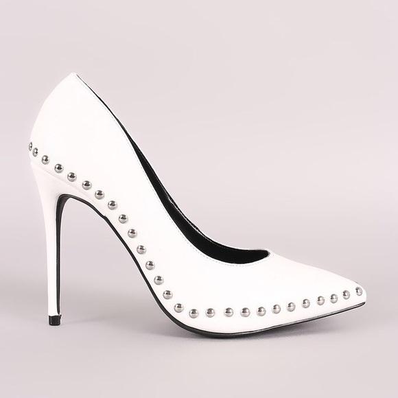 1af80e5edff0 NWT - White Studded High Heels
